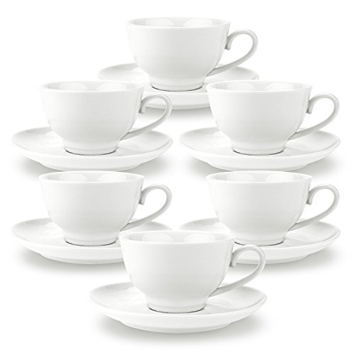 Rachel's 180ml China Porcelain Tea Cup and Saucer Set Coffee Cup Set with Saucer White Magnolia sets of 6