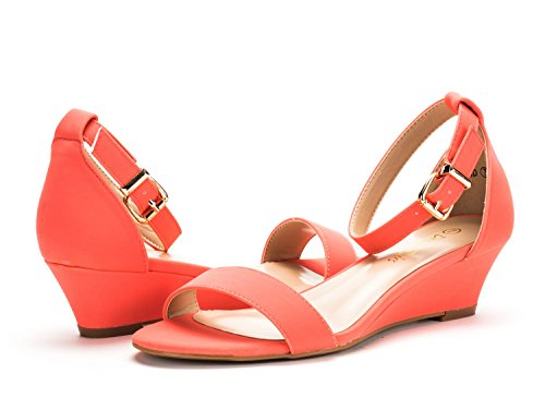 DREAM PAIRS Womens Ingrid Ankle Strap Low Wedge Sandals Coral Nubuck cEGXjZ