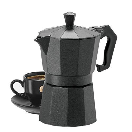 Oggi 6570.3 3 Cup Cast Aluminum Stovetop Espresso Maker, Black