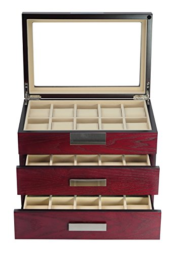 TimelyBuys Luxury 30 Cherry Wood Watch Box Display Case 3 Level Storage Jewelry Organizer with Glass Top, Stainless Steel Accents, 2 Drawers for Closet, Dresser or Vanity (Case Watch Wall Display)
