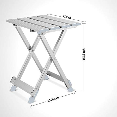 b204fbeb298b Aobeau Sliver Folding Aluminum Stool Supports to 220 lb|Heavy Duty Metal  Step Stool|Camping Fishing Stool for Gardening, Bathroom, Shower, Outdoor,  ...