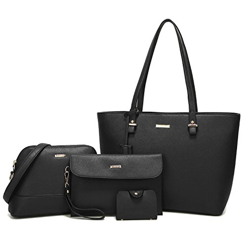 ELIMPAUL Women Fashion Handbags Tote Bag Shoulder Bag Top Handle Satchel Purse Set 4pcs ()