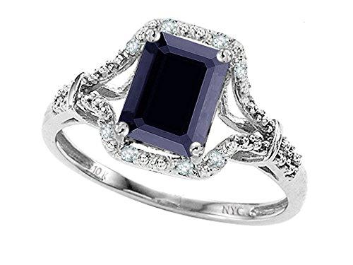 Star K 8x6mm Emerald Cut Genuine Black Sapphire and Diamond Ring 10kt Gold