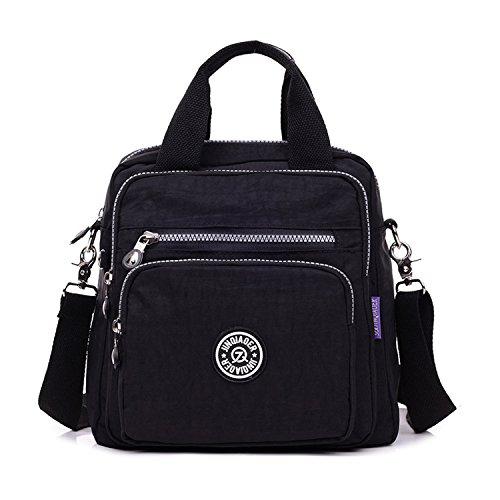 MeCooler Bolso Bandolera Impermeable Moda Bolsos Mujer Casual Mochilas Escolares Ligero Bolsas de Viaje Bolsos Escuela Sport Bag para Tablet Negro