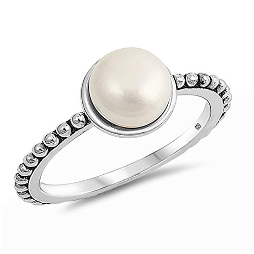 Simulated Pearl Bali Bead Statement Ring .925 Sterling Silver Band Size 6