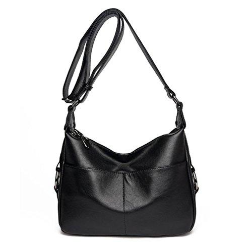 Vbiger Bolso de hombro de las mujeres Bolso de mensajero de cuero de la PU Bolso de cuerpo cruzado de moda Dos bolsillos abiertos delanteros Negro