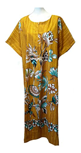 14727 (Marron) de moutarde pour femme 100%  coton Imprimé floral aux Caftan & tu peux plage Taille unique convenant à tous (12–26).