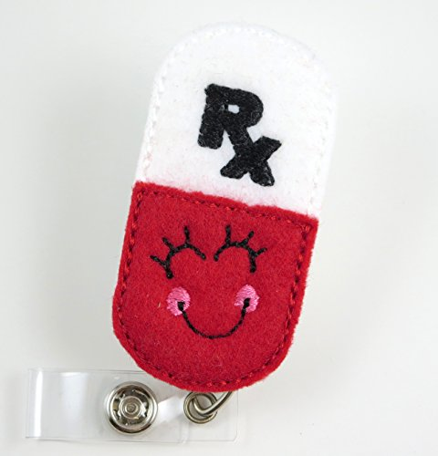 Smiley RX Pharmacy Pill - Nurse Badge Reel- Retractable ID Badge Holder - Nurse Badge - Badge Clip - Badge Reels - Pediatric - RN - Name Badge Holder