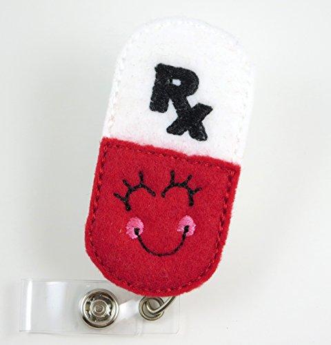 Smiley RX Pharmacy Pill - Nurse Badge Reel- Retractable ID Badge Holder - Nurse Badge - Badge Clip - Badge Reels - Pediatric - RN - Name Badge Holder