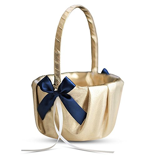 Alex Emotions GOLD & NAVY BLUE Wedding Ring Bearer Pillow and Flower Girl Basket Set – Satin & Ribbons – Pairs Well with Most Dresses & Themes – Splendour every Wedding Deserves ()