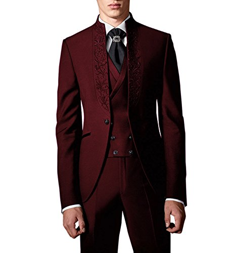 Broderie De Party Hommes Costumes gilet pantalon Tuxedo Costume Mariage Suit Me 3 Pcs Rouge Blazer Smokings 4HWqwBxFCI