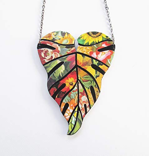 Original Upcycled OOAK Paper Mosaic Art Statement Bright Fall Floral Tropical Leaf Necklace