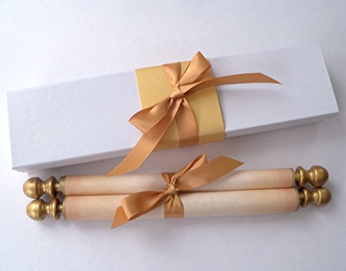 (Wide blank aged parchment scroll for handwritten calligraphy, gold accent, 8x17