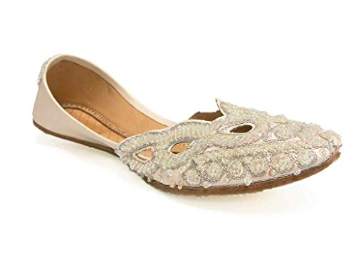 Crisp White Beaded Indian Bridal Wedding Flats Jutti Comfy Quinceanera Flats Womens 8 (Sca Belly Dancing)