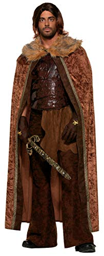 Forum Novelties Men's Medieval Fantasy Faux Fur Trimmed Costume Cape, Brown, One Size -