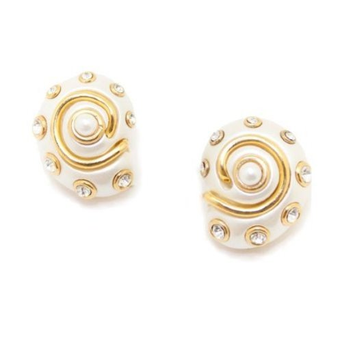 White Snail Shell Clip On Earrings Costume Fashion Designer Jewelry by Kenneth Jay Lane by Kenneth Jay Lane