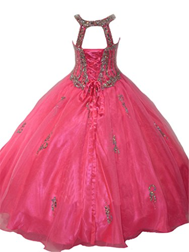 PuTao Big Girls' Crystal Long Ball Gowns Kids Pageant Dresses 10 US Pink by PuTao (Image #1)