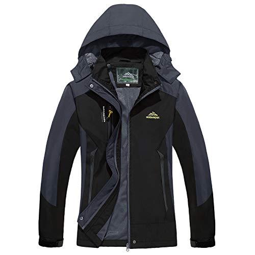 TACVASEN Women's Convertible Hooded Sportswear Lightweight Waterproof Softshell Jacket Raincoat Black,US L