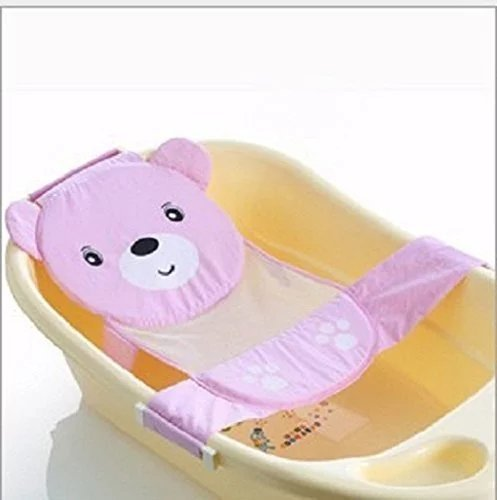 Rainbowkids Adjustable Baby Bath Seat Support Net Bathtub Sling Shower Mesh Bathing Cradle Rings Gift (Pink) With Great Quality ,Anti-Slipinfant Bath Net Easy Baby Bathing Time