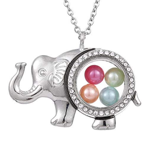 ChengYu Silver Lucky Elephant Living Memory 8mm Beads Pearl Cage Glass Floating Locket Magnetic Pendant Rhinestone Necklace Gift for Her (Elephant)