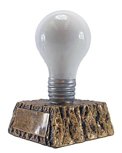 White Light Bulb Trophy on Gold Base - Cool Idea Recognition - Customize Now - Personalized Engraved Plate Included & Attached to Award - Great Sales or Business Award - Decade Awards Exclusive
