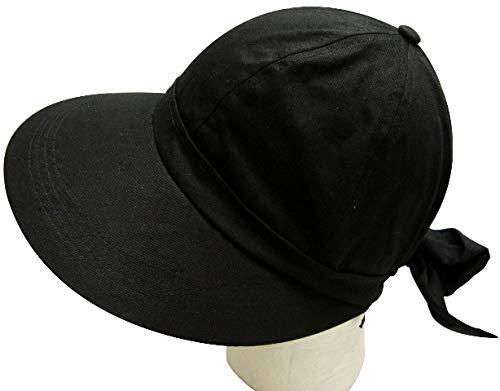 (JFH Women's Classic Quintessential Sun Wide Visor Hat in Sold Bold Colors (Black))