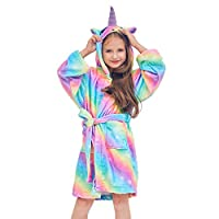 e117c480d7 Beinou Unicorn Kids Robe Fleece Bathrobe Terrycloth Sleepwear Long Shower  Robe