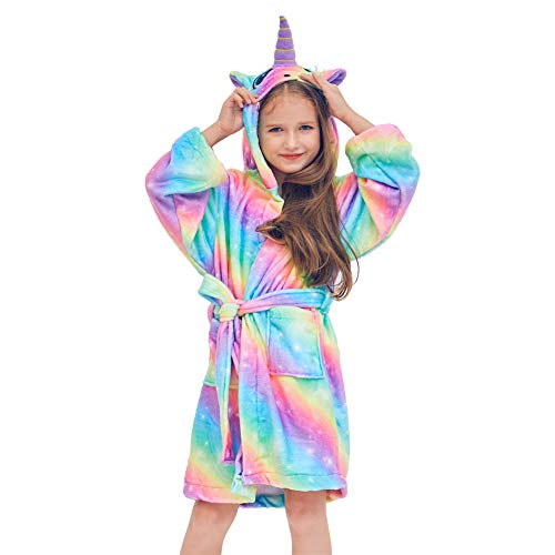 Beinou Unicorn Kid Robes Fleece Kid Bathrobe Terrycloth Rainbow Sleepwear for Girls Soft Cotton Long Shower Robe -