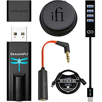 Image of Amps AudioQuest Dragonfly Black USB DAC Headphones Amplifier Bundle with iFi Ear Buddy Audio Attenuator 3.5mm, Blucoil Mini USB Type-A Hub with 4 USB Ports, and 3-FT USB 2.0 Type-A Extension Cable