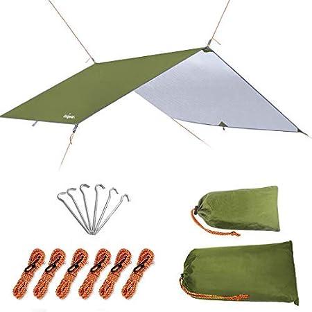 Unigear Toldo Camping Impermeable Lona Suelo Protector Aolar Anti-Viento Toldos para Playa Tienda Hamaca Acampada Refugio Al Aire Libre (Verde, ...