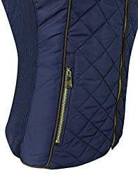 makeitmint Women\'s Basic Solid Quilted Padding Jacket Vest w/ Pockets 3XL YJV0002_24NAVY