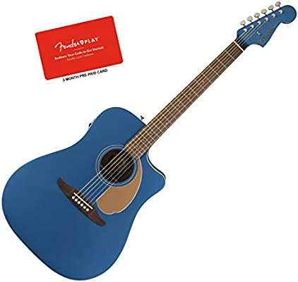 Fender Redondo Player Belmont Blue Acoustic Electric Guitar Solid Top Guitars & Basses