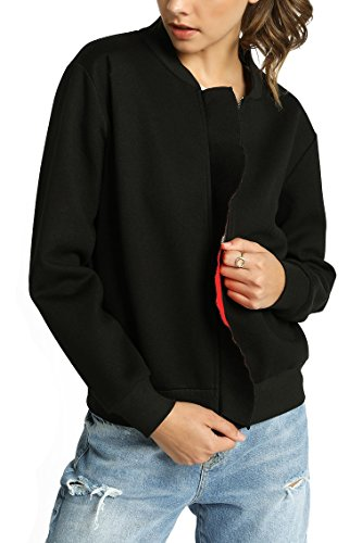 MeshMe Womens Amy - Midnight Pitch Black Red Contrasted Bonded Thick Scuba Ruffled Full Zip Zippered Cute Biker Skater Lightweight Bomber Cardigan Autumn Fall Jacket Medium