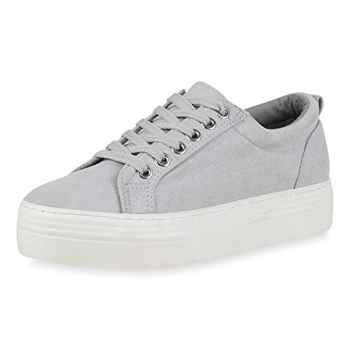 Chaussures De Vie Espadrille Plateau Damen Glitzer Grau