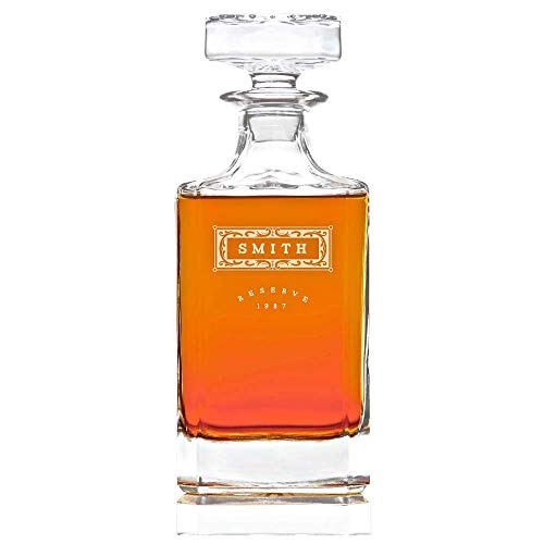 Personalized Whiskey Decanter Lead Free Whisky Bottle, 28 oz : Classic Design (Crystal Classic Decanter)