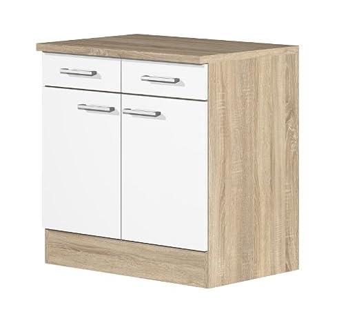 Küchen Unterschrank 80 cm breit Weiß Sonoma Eiche - Salerno ...