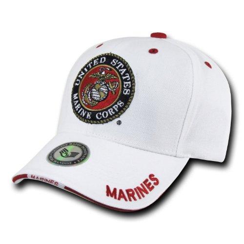 U.S. MARINE CORPS USMC INSIGNIA HAT CAP WHITE MARINES US MILITARY BASEBALL CAPS (Military Usmc Insignia Caps)