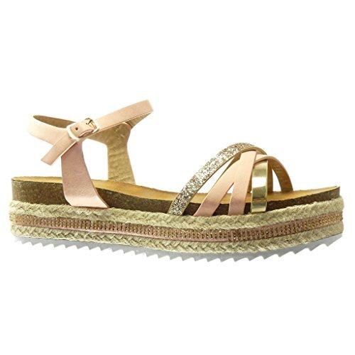 Angkorly - Scarpe da Moda sandali Espadrillas zeppe donna paillette multi-briglia tanga Tacco zeppa piattaforma 5 CM - Rosa