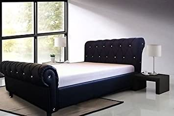 regal kingsize faux leather diamante sleigh bed frame in 6 different colours