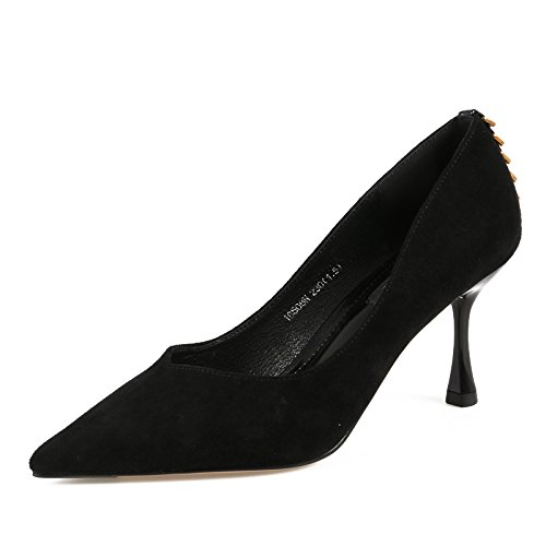 Tip Trim Followed 5Cm Satin Black Fine High 7 Shoes Single Wild Shoes By Girl Is Light KPHY The Spring Heeled Metal With 8B7xEE