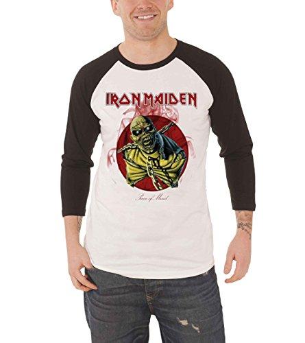 XXL White & Black Men's Iron Maiden Piece Of Mind Raglan T-shirt
