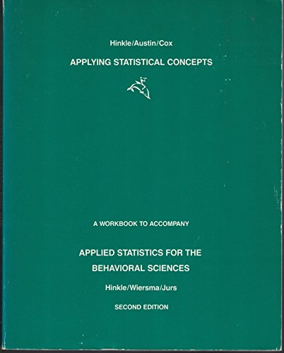 Applying Statistical Concepts: A Workbook to Accompany Applied Statistics for the Behavioral Sciences