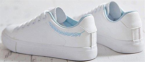 Satuki Mote Joggesko For Kvinner, Flat Pleather Snøre Opp Tilfeldige Sport Comfort Hvite Sko Hvit-blå
