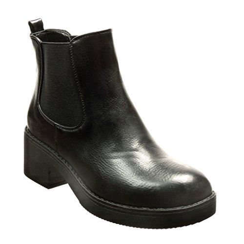 Angkorly - Chaussure Mode Bottine chelsea boots plateforme femme Talon haut bloc 5 CM - Noir