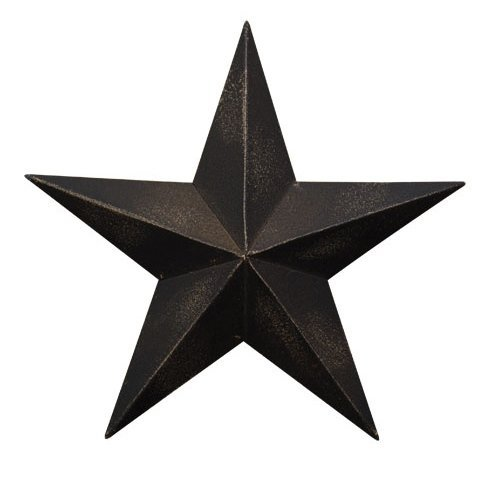 (ACCENTHOME Country Black Dimensional Steel Metal Barn Star Wall Decor Antique Black Matte Finish Star Wall Decoration (18