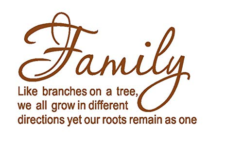 LUCKKYY Family Like Branches on a Tree Vinyl Wall Decals Quotes Sayings Words Art Decor Lettering Vinyl Wall Art (Brown) -