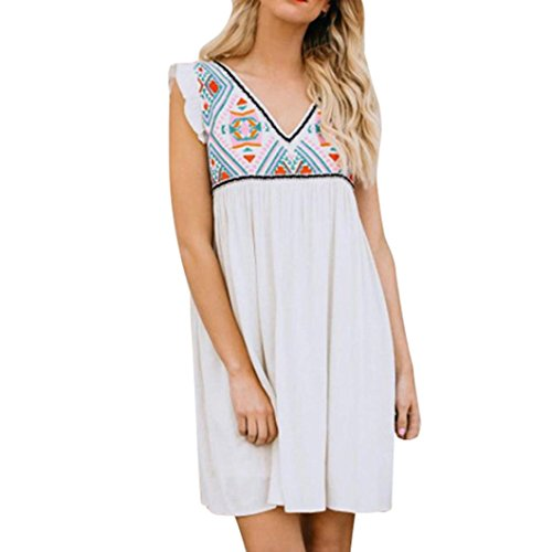 PeiZe 2018 Summer Women White V-Neck Sleeveless Boho Bohemian Bodycon Evening Party Mini Dress (L) - Baseball Sleeveless Hat