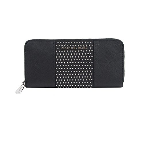 Michael Kors Black Saffiano Leather Microstud Travel Wallet by Michael Kors