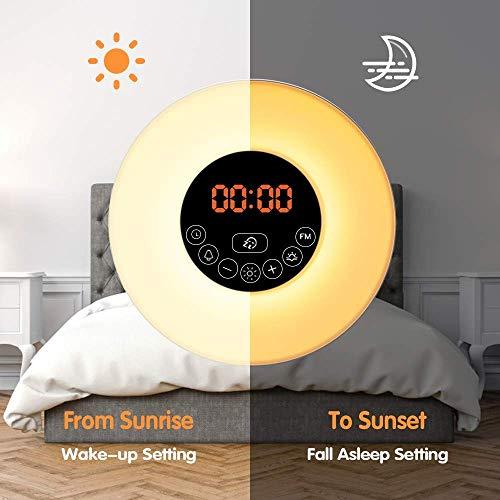 GreenSun LED Lighting Wake Up Light Despertador con Luz LED Lámpara Luces-despertador, Simulación de Amanecer y Atardece, Función Snooze, Radio FM, 7 ...