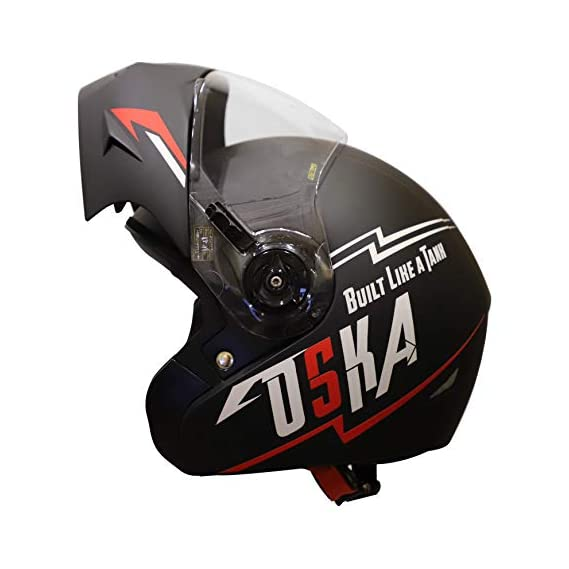 Steelbird SB-45 OSKA Flip Up Helmet with Reflective Graphics (Medium 580 MM, Matt Black with Clear Visor)